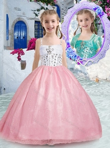 Beautiful Spaghetti Straps Pink Little Girl Pageant Dresses with Beading