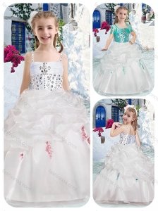 Best Spaghetti Straps Flower Girl Dresses with Beading and Bubles
