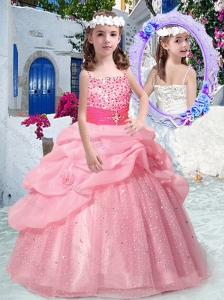 Best Spaghetti Straps Little Girl Pageant Dresses with Beading and Bubles