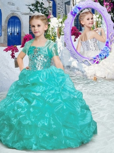 Best Spaghetti Straps Little Girl Pageant Dresses with Beading and Ruffles