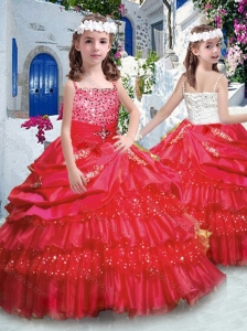 Classical Ball Gown Little Girl Pageant Dresses with Ruffled Layers and Beading
