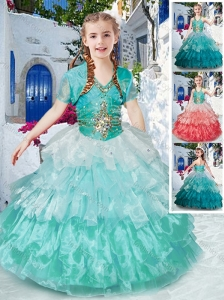 Classical Halter Top Little Girl Pageant Dresses with Ruffled Layers and Beading