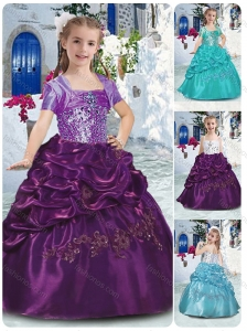 Classical Spaghetti Straps Little Girl Pageant Dresses with Beading and Bubles