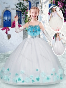 Classical White Little Girl Pageant Dresses with Appliques and Beading