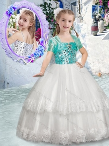 Customized Spaghetti Straps Flower Girl Dresses with Beading and Lace