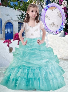 Elegant Straps Ball Gown Little Girl Pageant Dresses with Beading and Bubles