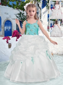 Fashionable Straps Flower Girl Dresses with Beading and Bubles