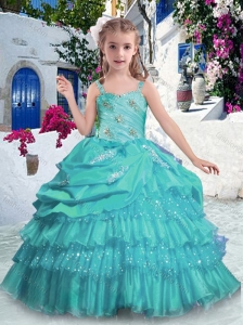 Gorgeous Straps Little Girl Pageant Dresses with Ruffled Layers and Beading