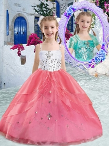 Hot Sale Spaghetti Straps Ball Gown Beading Little Girl Pageant Dresses