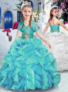 Latest Halter Top Little Girl Pageant Dresses with Ruffles and Beading