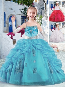 Latest Spaghetti Straps Little Girl Pageant Dresses with Appliques and Bubles