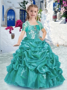 Lovely Spaghetti Straps Little Girl Pageant Dresses with Beading and Bubles