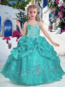 Most Popular Straps Little Girl Pageant Dresses with Beading and Bubles