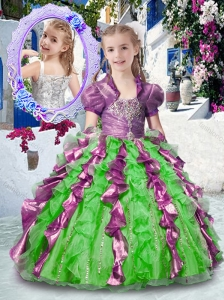 Most Popular Straps Little Girl Pageant Dresses with Beading and Ruffles
