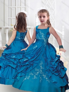 New Style Square Taffeta Little Girl Pageant Dresses with Appliques and Bubles