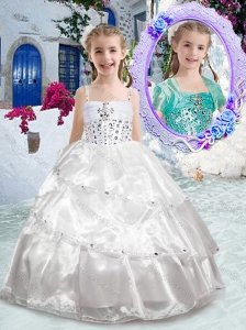 Pretty Spaghetti Straps Ball Gown Beading Flower Girl Dresses