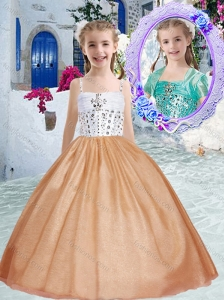 Pretty Spaghetti Straps Little Girl Pageant Dresses with Beading