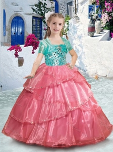 Pretty Spaghetti Straps Little Girl Pageant Dresses with Ruffles and Beading