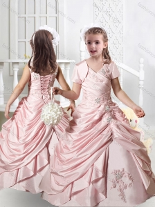 Pretty V Neck Appliques Little Girl Pageant Dresses in Baby Pink