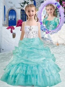 Romantic Spaghetti Straps Little Girl Pageant Dresses with Beading and Bubles
