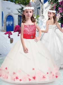 Simple Spaghetti Straps Little Girl Pageant Dresses with Appliques and Beading