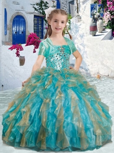 Sweet Spaghetti Straps Little Girl Pageant Dresses with Beading and Ruffles