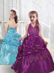 Top Selling Halter Top Little Girl Pageant Dresses with Appliques and Bubles
