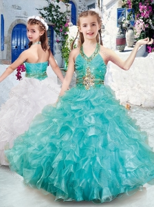 Top Selling Halter Top Little Girl Pageant Dresses with Beading and Ruffles