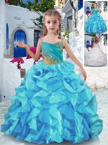 Wonderful Spaghetti Straps Little Girl Pageant Dresses with Beading and Ruffles