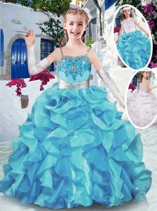Best Spaghetti Straps Little Girl Pageant Dresses with Appliques and Ruffles