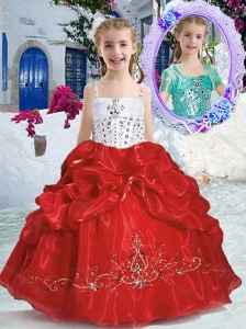 New Arrivals Spaghetti Straps Little Girl Pageant Dresses with Beading and Bubles