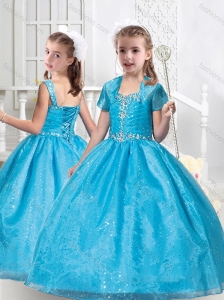 New Style Ball Gown Straps Beading Little Girl Pageant Dresses in Teal