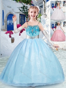 New Style Beautiful Spaghetti Straps Light Blue Little Girl Pageant Dress with Beading