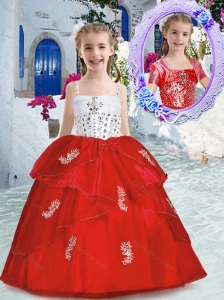 New Style Best Spaghetti Straps Little Girl Pageant Dresses with Appliques and Beading