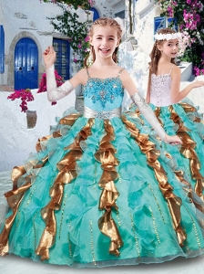 New Style Customized Ball Gown Appliques and Ruffles Little Girl Pageant Dresses for Party