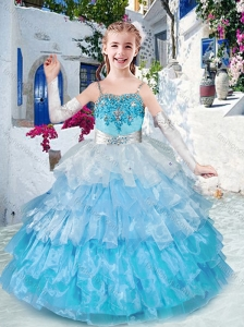 New Style  Customized Straps Little Girl Pageant Dresses with Ruffled Layers and Appliques