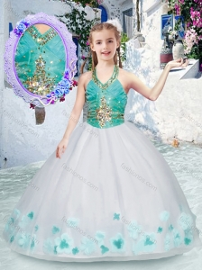 New Style Elegant Halter Top Little Girl Pageant Dresses with Appliques and Beading