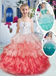 New Style Elegant Spaghetti Straps Little Girl Pageant Dresses with Ruffled Layers and Beading