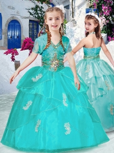 New Style Fashionable Halter Top Turquoise Little Girl Pageant Dresses with Appliques