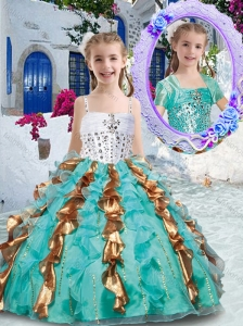 New Style Gorgeous Spaghetti Straps Little Girl Pageant Dresses with Beading and Ruffles