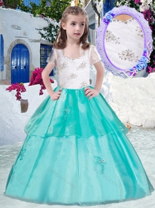 New Style  Gorgeous Straps Little Girl Pageant Dresses with Appliques and Beading