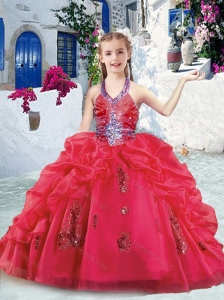 New Style  Halter Top Little Girl Pageant Dresses with Beading and Bubles