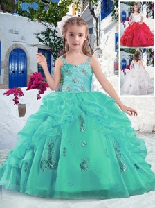 New Style  Latest Ball Gown Straps Beading and Bubles Little Girl Pageant Dresses