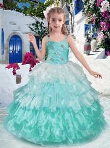 New Style Luxurious Straps Ball Gown Little Girl Pageant Dresses with Ruffled Layers