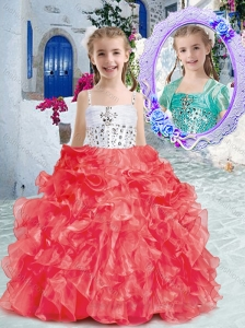 New Style Perfect Spaghetti Straps Little Girl Pageant Dresses with Beading and Ruffles