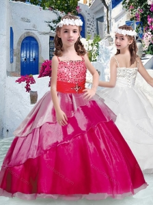 New Style  Pretty Spaghetti Straps Little Girl Pageant Dresses with Beading and Ruffles