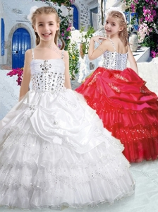 New Style Spaghetti Straps Little Girl Pageant Dresses with Ruffled Layers