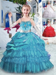 New Style Spaghetti Straps Little Girl Pageant Dresses with Ruffled Layers and Appliques