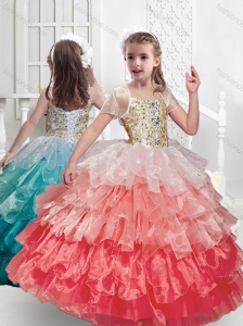 New Style Spaghetti Straps Little Girl Pageant Dresses with Ruffled Layers and Beading