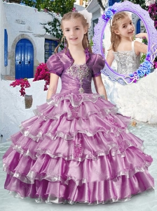 New Style Straps Little Girl Pageant Dresses with Ruffled Layers and Appliques